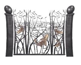 O. Gabbert - Koi Gate With Bronze Koi