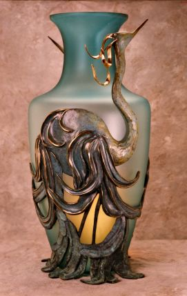 Blown glass & bronze vase - S. Seckman